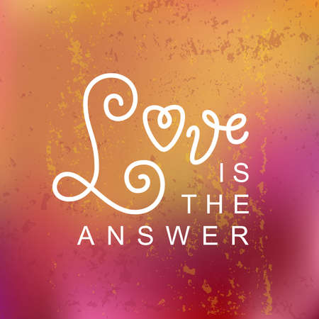 Modern calligraphy lettering of Love is the answer in white on orange pink textured background for decoration, poster, banner, logo, valentine, valentines day, gift tag, present, greeting card