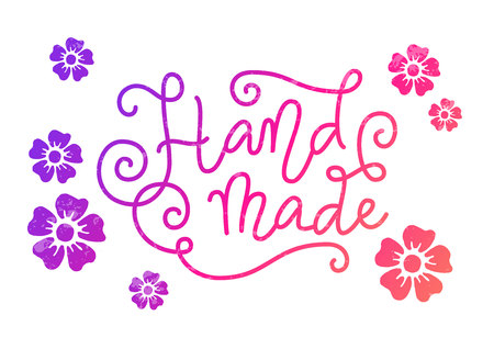 Calligraphy lettering of Hand made in purple pink in mono line style with swirls and texture on white background with flowers for decoration, art, logo, banner, poster, packaging, advertising, sale Illustration