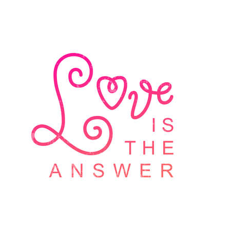 Modern calligraphy lettering of Love is the answer in pink isolated on white background for decoration, poster, banner, logo, valentine, valentines day, gift tag, present, greeting card