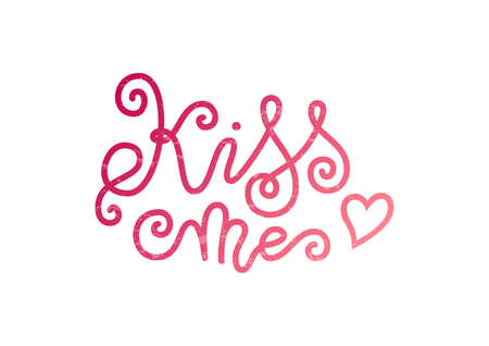 Modern mono line calligraphy lettering of Kiss me in pink decorated with heart and texture on white for decoration, poster, banner, greeting card, postcard, sticker, Valentines Day, valentine, present