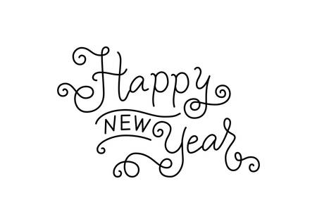 Modern mono line calligraphy lettering of Happy new year with swirls in black isolated on white background for decoration, poster, banner, greeting card, postcard, sticker, print, present, gift tag