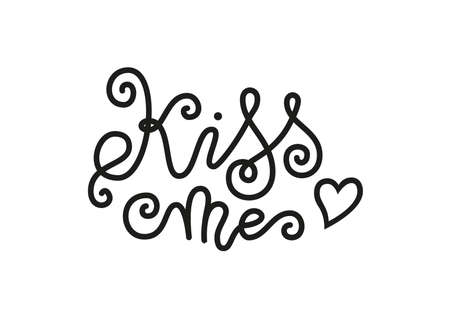 Modern mono line calligraphy lettering of Kiss me in black decorated with heart isolated on white for decoration, poster, banner, greeting card, postcard, sticker, Valentines Day, valentine, present