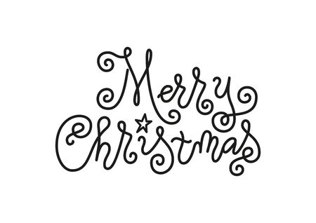 Modern mono line calligraphy lettering of Merry Christmas in black decorated with star isolated on white background for decoration, poster, banner, greeting card, postcard, party, present, gift tag