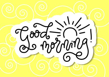Modern mono line calligraphy lettering of Good Morning with sun in black with white outline on yellow background with swirls for decoration, poster, banner, greeting card, present, gift tag, print