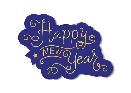 Calligraphy lettering of Happy new year in golden with blue outline on white for decoration, poster, banner, greeting card, postcard, present, party, present, invitation, celebration, sticker