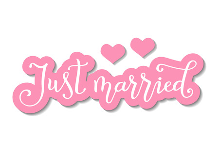 Modern calligraphy of Just married in white with pink outline in paper cut style on white background decorated with two pink hearts and texture for decoration, wedding, party, scrapbooking, print Illustration