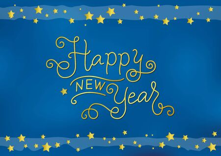 Calligraphy lettering of Happy new year in golden on blue background with stars for decoration, poster, banner, greeting card, postcard, present, party, present, gift tag, invitation, celebration