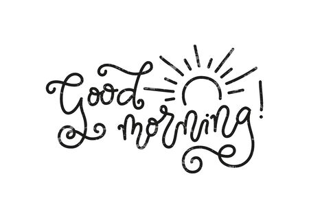 Modern mono line calligraphy lettering of Good Morning in black with texture and decorated with sun isolated on white background for decoration, poster, banner, greeting card, present, gift tag, print 向量圖像
