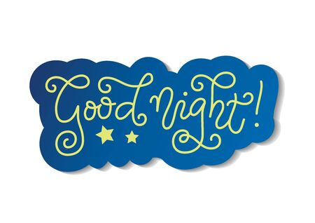 Modern mono line calligraphy lettering of Good night in yellow with blue outline on white for decoration, poster, banner, greeting card, present, gift tag, print, scrapbooking, stamp, sticker