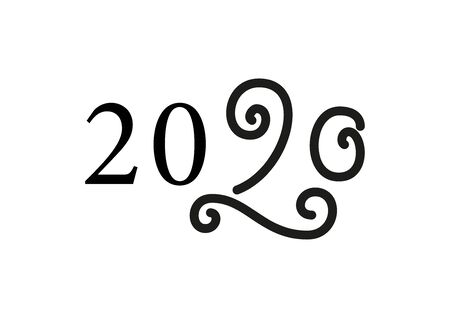 Modern mono line calligraphy lettering of 2020 with swirls in black isolated on white background for decoration, poster, banner, greeting card, postcard, sticker, print, present, gift tag, new year 向量圖像