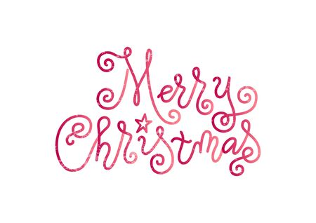 Modern mono line calligraphy lettering of Merry Christmas in pink decorated with star and texture on white background for decoration, poster, banner, greeting card, postcard, party, present, gift tag