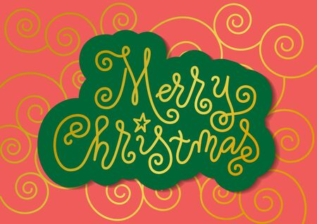 Modern mono line calligraphy lettering of Merry Christmas in golden with green outline on coral background with swirls for decoration, poster, banner, greeting card, postcard, party, present, gift tag