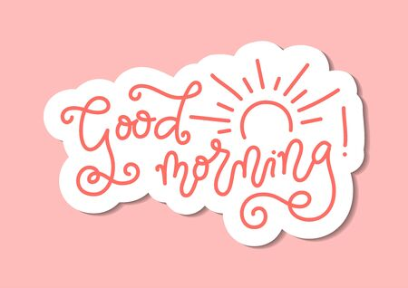 Modern mono line calligraphy lettering of Good Morning in pink with white outline and decorated with sun on pink background for decoration, poster, banner, greeting card, present, gift tag, print 向量圖像