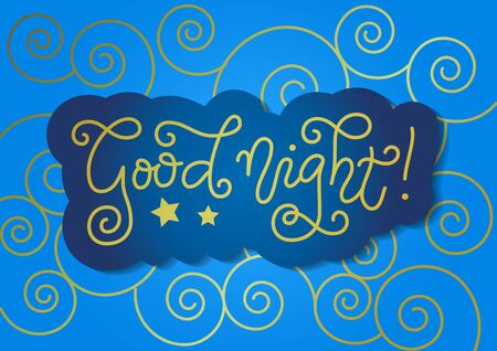 Modern calligraphy lettering of Good night in golden with blue outline on blue background for decoration, poster, banner, greeting card, present, gift tag, print, scrapbooking, stamp, sticker 向量圖像