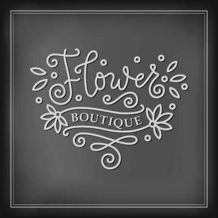 Modern mono line calligraphy lettering of Flower boutique in white with swirls on chalkboard background for decoration, flower shop, market, logo, advertising, design, stamp, sign board, outdoor sign