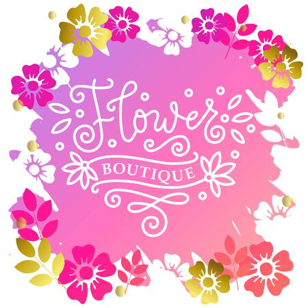 Modern mono line calligraphy lettering of Show Room in white on pink background with frame of flowers for outdoor sign, logo, design, advertising, hand bill, web site, clothes shop