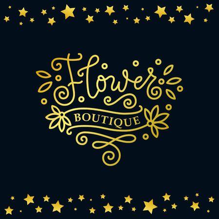 Modern calligraphy lettering of Flower boutique in golden on dark background with frame of golden stars for decoration, flower shop, market, logo, advertising, design, stamp, sign board, outdoor sign 向量圖像