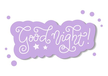 Modern mono line calligraphy lettering of Good night in white with purple outline on white for decoration, poster, banner, greeting card, present, gift tag, print, scrapbooking, stamp, sticker