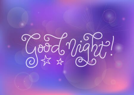 Modern mono line calligraphy lettering of Good night in white on purple pink background for decoration, poster, banner, greeting card, present, gift tag, print, scrapbooking, stamp, sticker