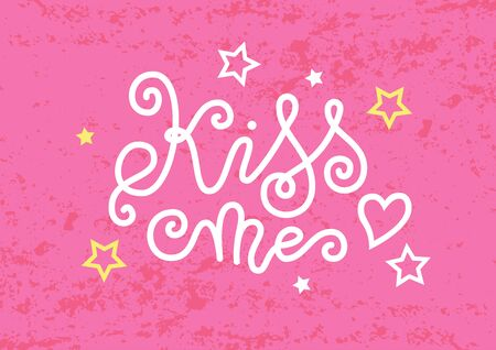 Modern calligraphy lettering of Kiss me in white with heart and stars on pink textured background for decoration, poster, banner, greeting card, postcard, sticker, Valentines Day, valentine, present