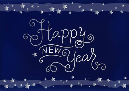Calligraphy lettering of Happy new year in silver on blue background with stars for decoration, poster, banner, greeting card, postcard, present, party, present, gift tag, invitation, celebration