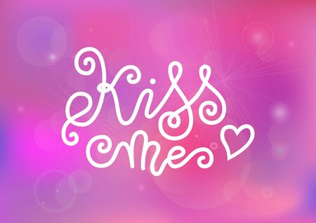 Modern mono line calligraphy lettering of Kiss me in white decorated with heart on pink for decoration, poster, banner, greeting card, postcard, sticker, Valentines Day, valentine, present 向量圖像