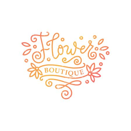 Modern mono line calligraphy lettering of Flower boutique in orange with texture on white background for decoration, flower shop, market, logo, advertising, design, stamp, sign board, outdoor sign