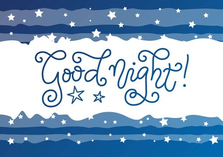 Modern mono line calligraphy lettering of Good night in blue with on white with frame of stars for decoration, poster, banner, greeting card, present, gift tag, print, scrapbooking, stamp, sticker Foto de archivo - 136897979
