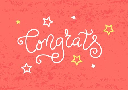 Modern mono line calligraphy lettering of Congrats in white with stars on coral textured background for decoration