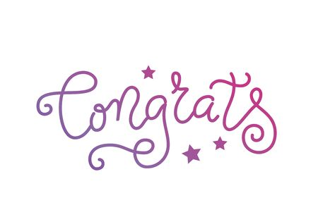 Modern mono line calligraphy lettering of Congrats in purple with stars on white background Illustration