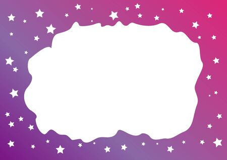 Decorative background with purple pink frame of stars for decoration, poster or banner, postcard or greeting card, letter, photo frame, border, text, design, holiday, label 向量圖像