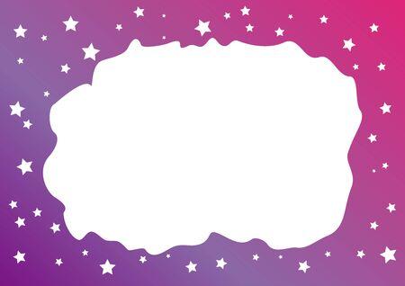 Decorative background with purple pink frame of stars for decoration, poster or banner, postcard or greeting card, letter, photo frame, border, text, design, holiday, label Illustration