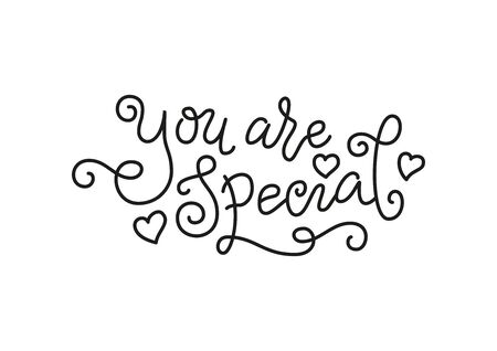Modern mono line calligraphy lettering of You are special in black with hearts isolated on white for decoration