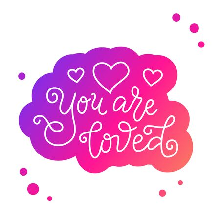 Modern mono line calligraphy lettering of You are loved in white with pink outline on white for decoration 向量圖像