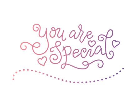 Modern mono line calligraphy lettering of You are special in pink purple textured with hearts on white for decoration Illustration