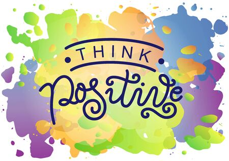 Calligraphy lettering of Think positive in dark blue on watercolour background for decoration