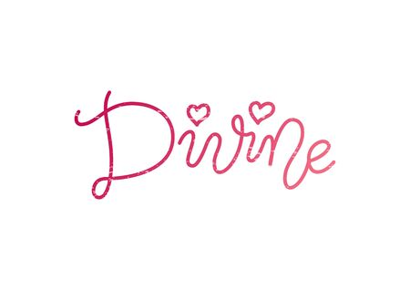 Modern mono line calligraphy lettering of Divine in pink with hearts and texture on white background for decoration, poster, postcard, greeting card, gift tag, label, sign, packaging, present