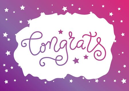 Modern mono line calligraphy lettering of Congrats in purple with stars on white background with frame for decoration, poster, postcard, greeting card, prize, label, sign, present, competition