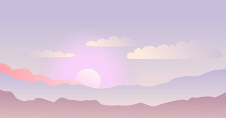 Illustration of landscape with sunrise in the mountains in delicate pastel shades with clouds for poster, decoration, book cover, background, banner, backdrop, prospect, advert