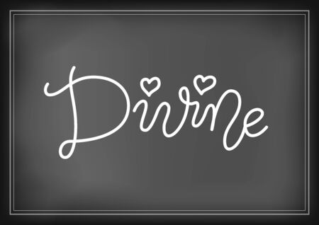 Modern mono line calligraphy lettering of Divine in white with hearts on chalkboard background for decoration, poster, postcard, greeting card, gift tag, label, sign, packaging, present