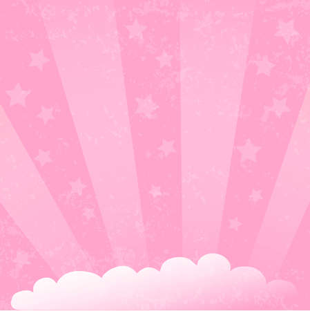 Romantic pink backdrop with white cloud, light beams and stars on pink textured background for decoration, poster, banner, design, text, advert, valentine, party, celebration, gift tag, birthday