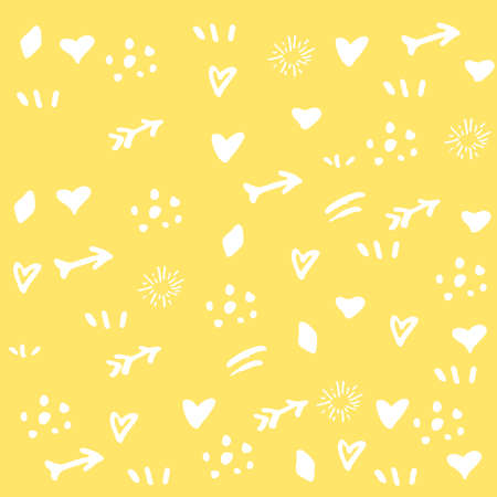 Yellow background with white signs of hearts and arrows for decoration or design, poster or banner, text or advert, party or birthday