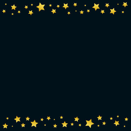 Dark background with frame of golden stars for decoration, poster, banner, design, text, advert, new year, party