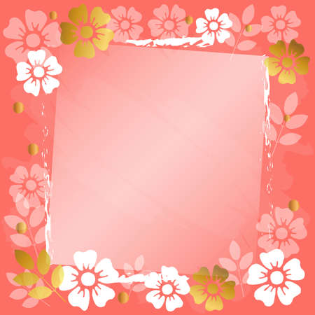 Festive romantic coral background with frame of white and golden flowers and leaves for decoration, poster, banner, design, text, advert, valentine, party, celebration, gift tag, birthday, mothers day Illustration