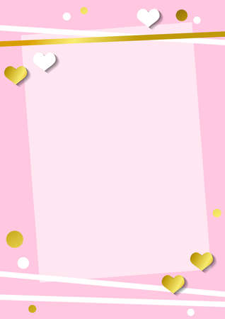 Festive romantic pink background with frame of white hearts and confetti and golden stripes for decoration, poster, banner, design, text, advert, valentine, party, celebration, gift tag, birthday