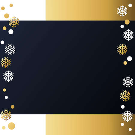 Festive winter dark background with frame of golden and white snowflakes and confetti for decoration, poster, banner, design, text, advert, new year, party, christmas, celebration, gift tag