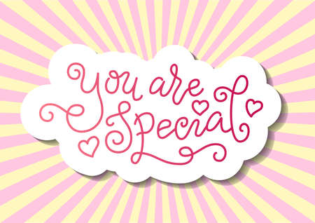 Modern mono line calligraphy lettering of You are special in pink with hearts on pink background