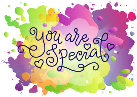 Modern mono line calligraphy lettering of You are special in blue with hearts on watercolor background