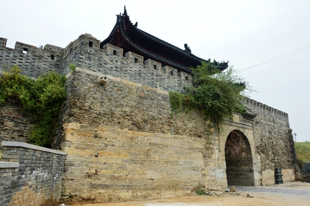 county: Wall of Ancient City at Shou County Editorial