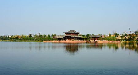 lakefront: Scenic lakeside at Fuyang Editorial